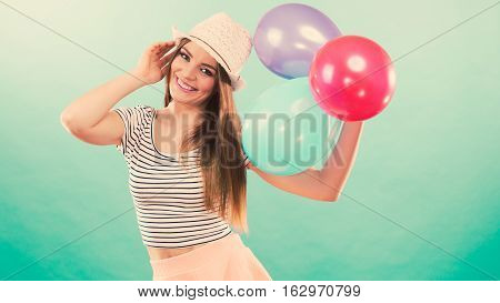 Joyful Girl Have Fun With Colorful Balloons.