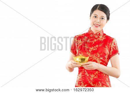 Chinese Woman Holding Golden Ingot