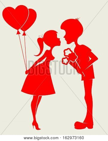 Romantic silhouettes of loving couple with a bouquet of flowers and balloons in hand