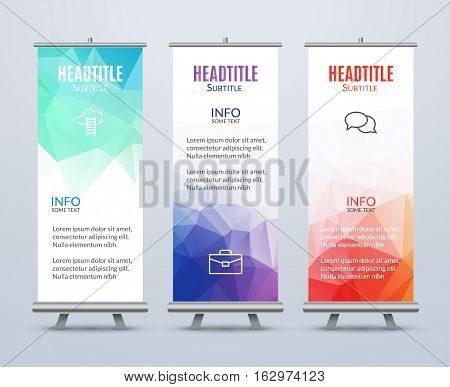 Banner Stand Design Template with Abstract Geometric background. Promotional template.