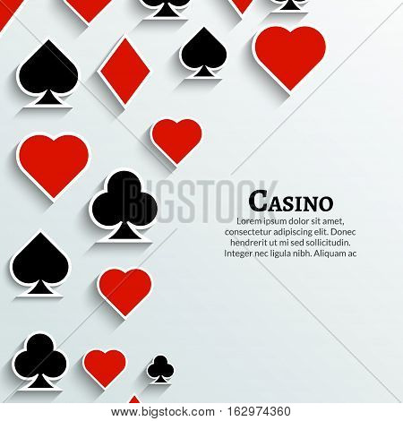 Vector Playing Cards symbol background. Casino cards background poster design template.