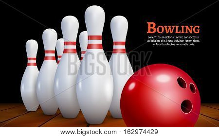 Bowling realistic illustration background. Bowling game leisure concept.