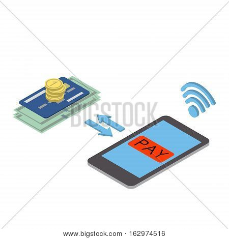 Mobile payments. Treatment of mobile payment mobile phone screen. Vector isometric illustration