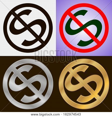 Four no dollar signs in various design