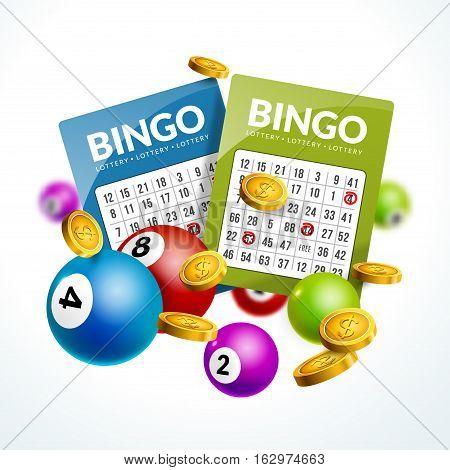 Bingo lottery balls numbers background. Lottery game balls ticket. Lotto winner.