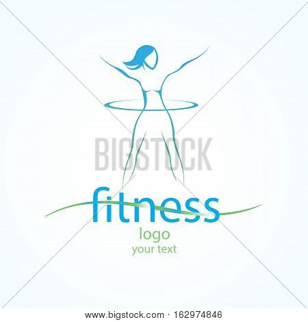 Abstract template logo with silhouette fitness girl