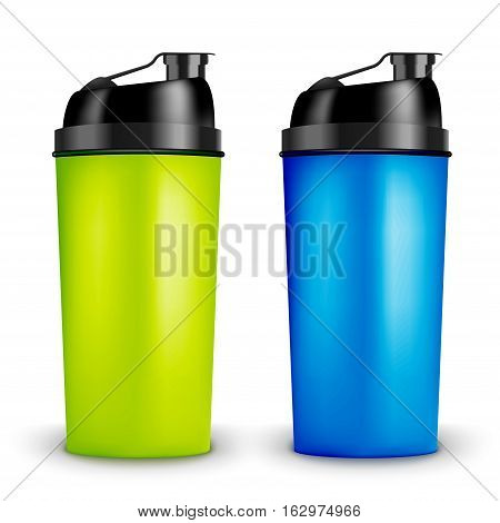 Protein shaker design template. Two colors sport bottles. Shaker bottle for gym bodybuilding.