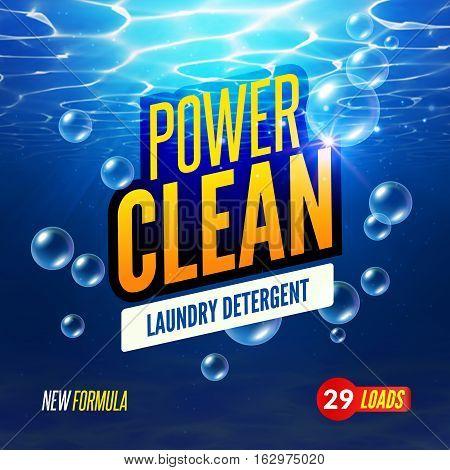 Laundry Detergent packaging vector template design. Detergent powdery design, cleaner label, underwater clean detergent fresh concept. poster