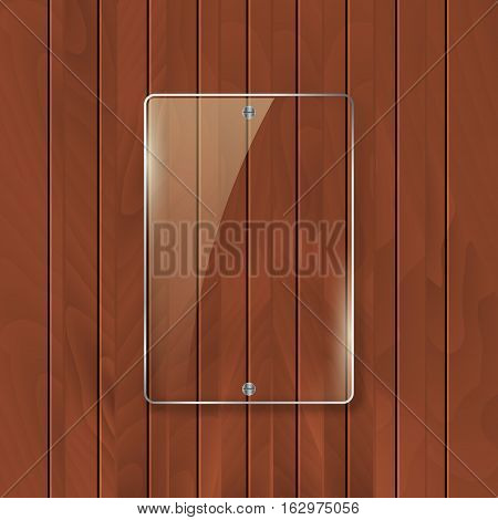 Glass frame on wooden texture background. Glass framework banner design.