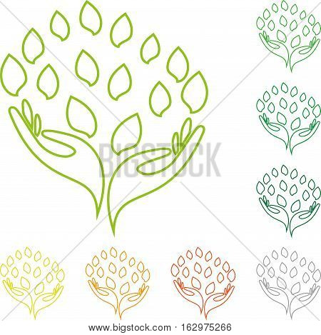 Hand and leaves, naturopaths and nature logo