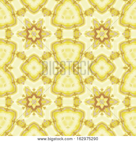 Abstract geometric seamless background. Regular star pattern in beige, yellow and light brown shades with lilac elements.