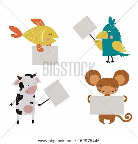 Wild animal zoo strike with clean plate board vector cartoon set. Jungle mammal and bird silhouette saying message comment quotation poster information.