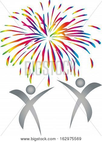 Two people, fireworks, explosion, people and holidays logo