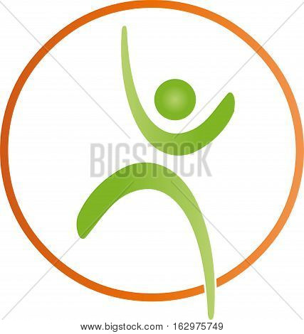 Human and circle, sports, fitness and sport medicine logo