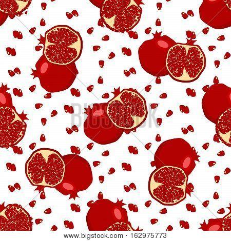 Red fresh pomegranate pattern art food design seamless vitamin vector ornament. Hand drawn seamless texture pomegranates fruit pattern. Sliced pomegranates and fruit seeds sweet graphic texture.