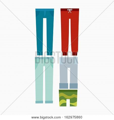 Cartoon jeans pants details silhouettes of denim menswear. Fashion clothing style design. Funny garment model outfit trousers vector illustration.