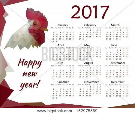 Rooster cock calendar for 2017. Vector template design monthly date 2017 calendar week organizer simple number. Crowing cockerel isolated low poly calendar month business template design.