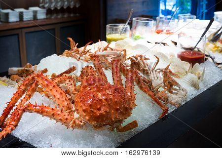 Close Up Of Alaskan King Crab And Seafood