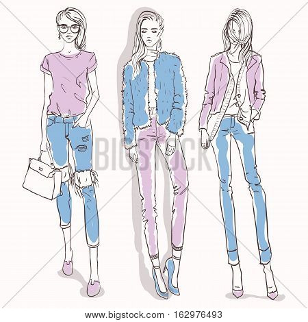 Vector set with color scetch of trendy girls. Elegant, stylized fashion models illustration