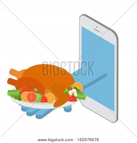 The concept of food delivery for the order. Fast delivery over the Internet. Roast turkey for the holiday table at Christmas. Vector isometric