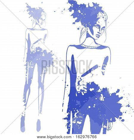 Portrait of trendy look girl. Hand drawing by water color splashes. Fashion style