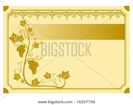 A grape vine background label. Vector illustration.