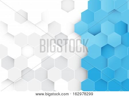 Abstract blue and white hexagon background. Honeycomb