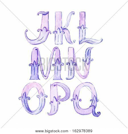 Watercolor alphabet. Large raster illustration with letters sequence from J to Q hand drawn with brush and liquid ink in purple and blue colors. Isolated on white collection with decorative letters.