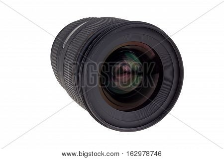The lens of modern digital camera a view of the front lens. Isolated on white background.