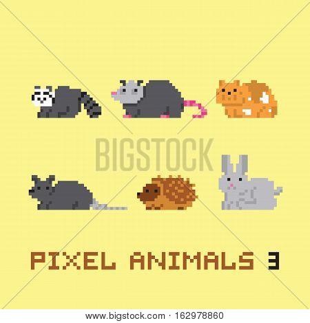 Pixel art style kawaii animals cartoon vector set 3