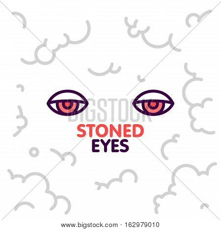 Marijuana weed stoned eyes on smoke clouds background vector illustration