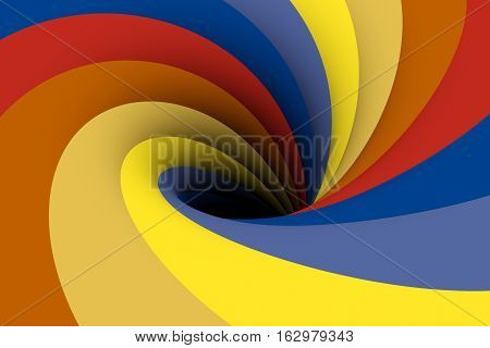 black hole yellow blue red color 3D illustration