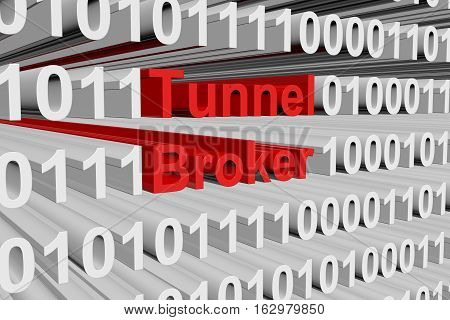 Tunnel broker in a binary code 3D illustration