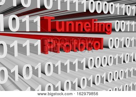 Tunneling protocol in the form of binary code, 3D illustration