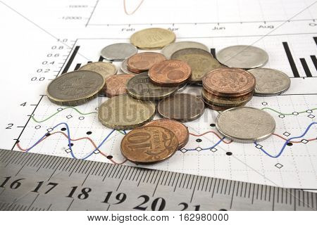 Financial background with different coins ruler and graph.