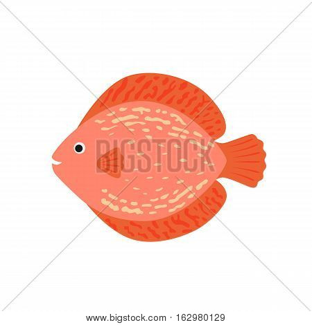 The aquarium fish discus pink. vector illustration in flat style