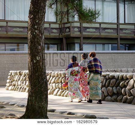 People Walking On Street In Miyajima Island, Japan
