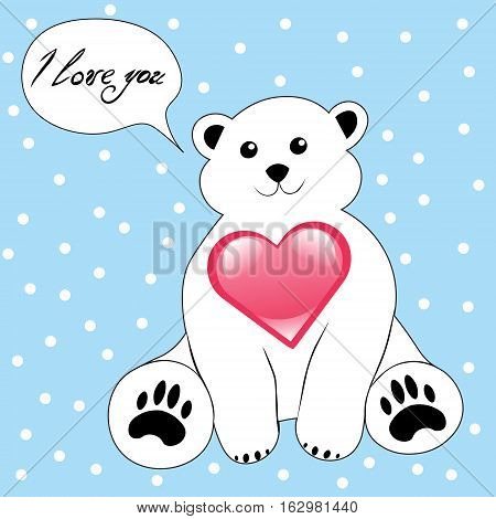 Cute cartoon polar bear with heart i love you valentine's day