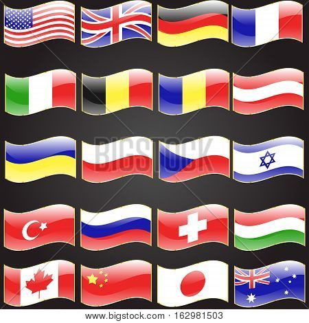 Twenty flags set wavy flag language button icon