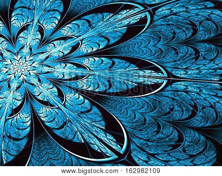 Fractal flower - abstract computer-generated image. Digital art: ornate blue petals like mosaic or stained-glass. For cards, banners, puzzles.