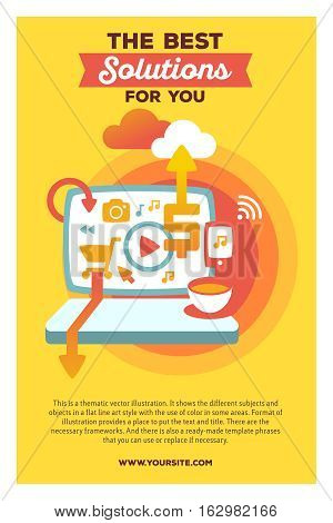 Vector Creative Colorful Illustration Of Laptop With Header The Best Solutions For You And Text On Y