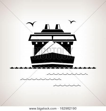Silhouette cargo ship, dry cargo ship on a light background ,black and white illustration