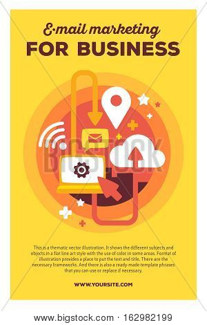 Vector Creative Colorful Illustration Of Communications By Laptop With Header Email Marketing And Te