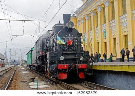 Kharkiv Ukraine - November 4 2016: Restored steam locomotive Er-794-12 near the platform of railway station