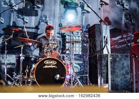BELGRADE, SERBIA - SEPTEMBER 19TH: SERBIAN BAND GOBLINI PERFORMING AT WARRIOR'S DANCE FESTIVAL ON SEPTEMBER 19TH, 2012 IN BELGRADE, SERBIA