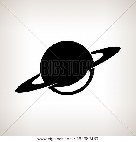 Silhouette planet Saturn on a light background ,black and white illustration