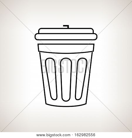 Silhouette dustbin, silhouette bin for waste on a light background ,black and white illustration