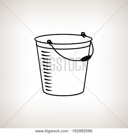Silhouette bucket, silhouette bucketful on a light background , black and white illustration