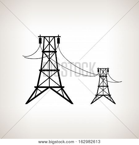 Silhouette high voltage power lines on a light background, black and white illustration