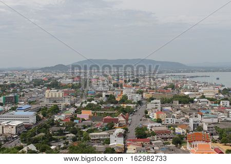 Songkhla Thailand December 24 2016 : Songkhla City Travel Top view from Tang Kuan Mountain in South Thailand.